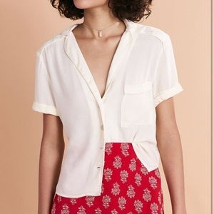 Urban Outfitters Cream Shortsleeved Button Up
